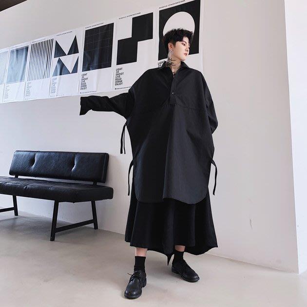 FINDSENSE 2019 秋季上新 G19 日系山本風側縫繫帶長款復古文藝襯衫素面襯衫 男裝 上衣