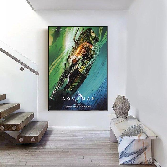 INHUASO 癮|画|所 水行俠Aquaman電影海報掛畫電影DC英雄角色裝飾畫正義聯盟的人物封面掛畫嵌框畫客製掛畫