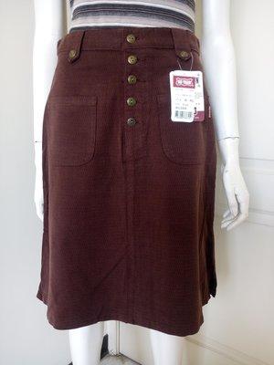 【全新有吊牌】牌價1200的專櫃BIG TRAIN咖啡色磨毛及膝裙,清衣櫃價120(女、SIZE:L號)