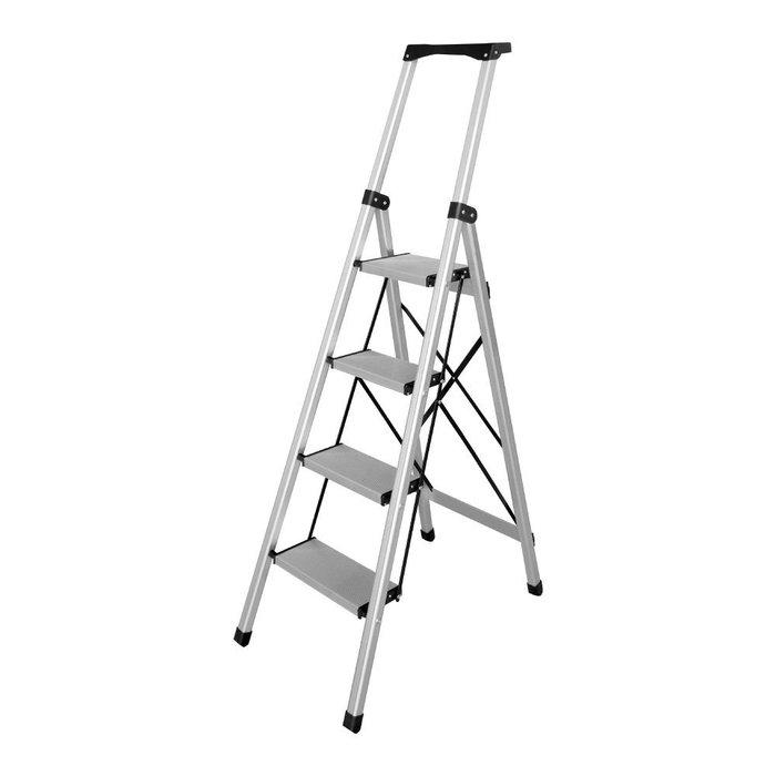 【TRENY直營】TRENY 工作台4階 鋁梯 荷重80公斤 防滑 鋁合金 工作梯 扶手梯 A字梯 梯子 0950