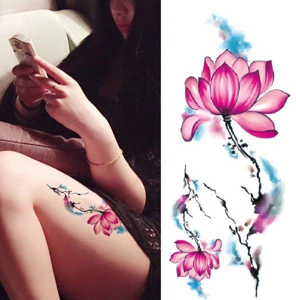 【萌古屋】煙霧蓮花手臂大圖 - 男女防水紋身貼紙刺青貼紙K19