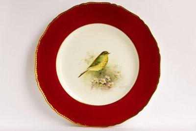 英國皇家伍斯特 Royal Worcester 手繪 歌鶇 (Thrush)鳥盤 畫師簽名 E. Townsend