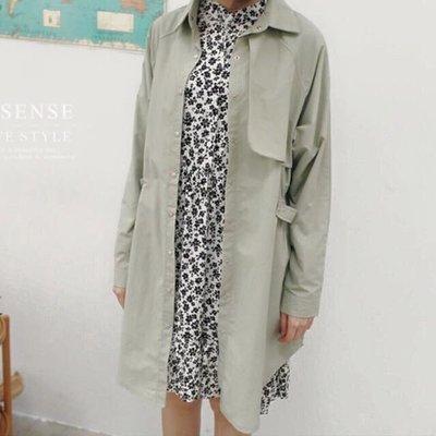 韓版風衣外套罩衫 淺綠 長版