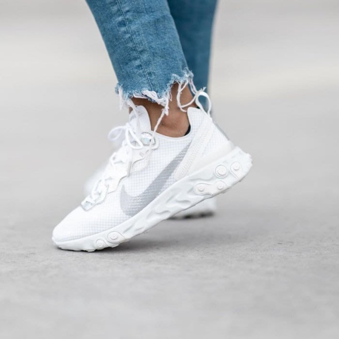 南◇2019 11月 Nike  React Element 55 女鞋 聖誕節 全白色 灰姑娘 Cn0147-100