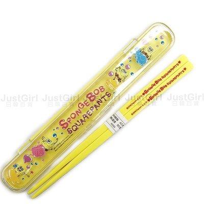 海綿寶寶 筷子 收納盒 環保餐具組 餐具 正版日本製造進口 JustGirl