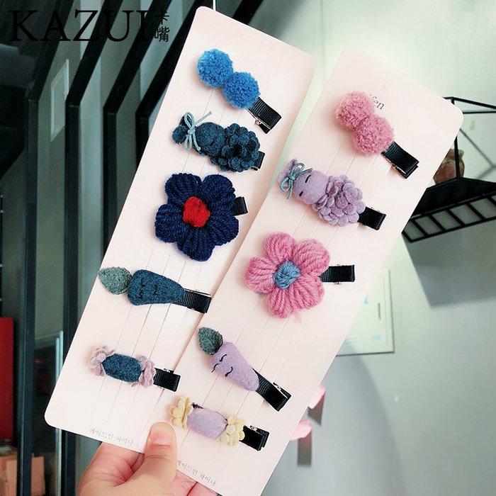 韓國韓版可愛兒童發飾頭飾毛線花朵兔子蘿卜卡通發夾邊夾套裝發卡