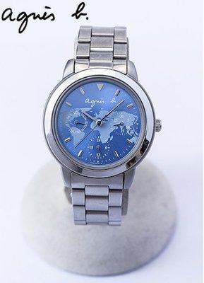 agnes b.錶3眼地圖面板100%真品