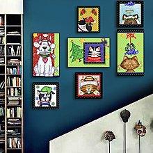 聖誕櫥窗裝飾畫兒童房牆貼畫卡通掛畫幼兒園牆畫嬰兒房掛畫無框(7幅一組)