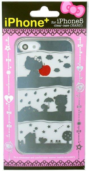 尼德斯Nydus~* 日本正版 Hello kitty 凱蒂貓 透明系列 手機殼 保護殼 iphone 5 5S 剪影款