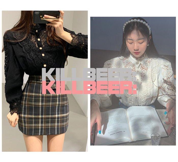 KillBeer:仙女是怎樣煉成的之 韓國代購復古洛可可宮廷風重工藝蕾絲刺繡鉤花簍空珍珠排扣小高領襯衫010322