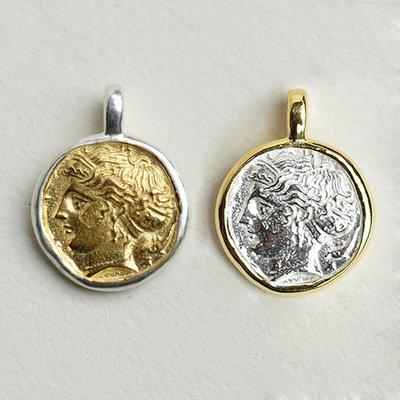 宏美飾品館~偶嶼Coin系列925純銀古希臘幣吊墜仙女艾瑞杜薩鍍金掛件古典配飾