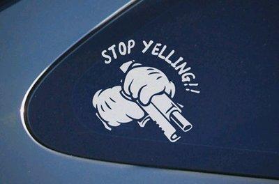 【小韻車材】STOP YELLING! 手勢 車貼 後窗玻璃貼 車身貼 車窗貼 貼紙