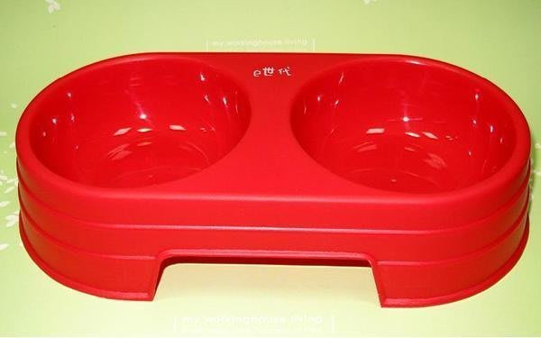 ~e世代~高級PVC雙格狗碗 塑膠碗 雙口碗 寵物碗 飼料專用狗碗貓碗 寵物食盆 【小尺寸】