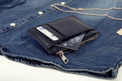 下殺374。SW。【K81122】正韓 韓國製  荔枝紋真皮 淡金拉鍊 實心拉鏈頭 信用卡/悠遊卡/名片夾 零錢包 專櫃