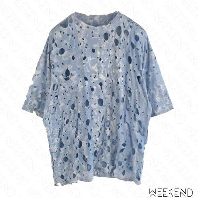 【WEEKEND】 WE11DONE 超級破壞 寬鬆 短袖 上衣 藍色 男女同款