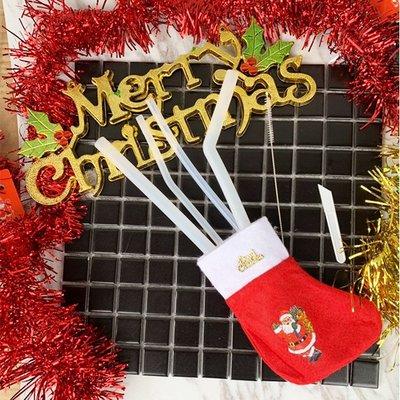 聖誕飾品 耶誕襪環保矽膠吸管套組 麋鹿雪人 交換禮物 聚會居家 平安夜 袋子 節慶萬用 慶祝派對【PMG301】收納女王