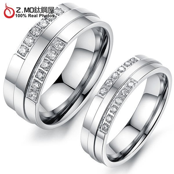 情侶對戒指 Z.MO鈦鋼屋 情侶戒指 鑲鑽戒指 白鋼對戒 鑲鑽對指 線條戒指 樸素線條 刻字【BKY426】單個價