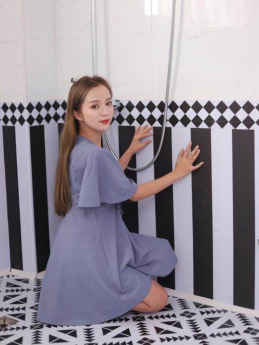 解憂zakka~ 加厚墻紙自粘衛生間裝飾地板貼紙耐磨防水浴室地貼 廚房防油貼紙
