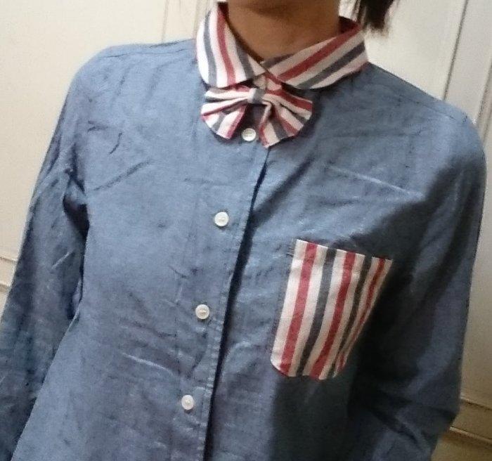 (全新)B394 - 可愛領結,三色領可愛的襯衫,萌萌搭