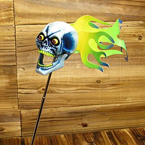 (I LOVE樂多)燃燒的骷髏頭天線球 MOONEYES出品 小改裝大樂趣