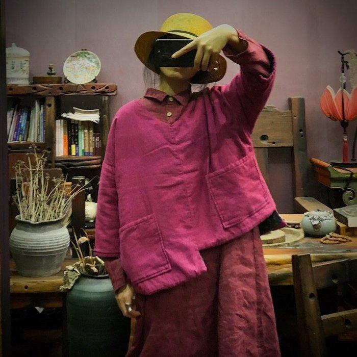 【子芸芳】原創V領不對稱短棉袍鋪棉上衣外套