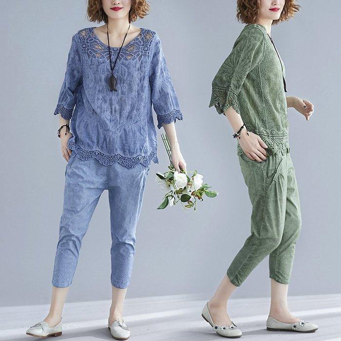 棉麻T恤 亞麻T恤 寬鬆 印花 胖女人遮肚顯瘦套裝洋氣大尺碼胖MM蕾絲衫上衣七分褲兩件套