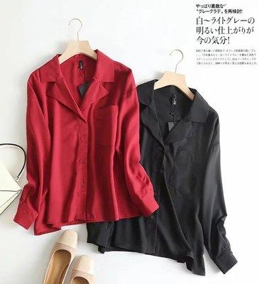 【An Ju Shop】外單 歐美西班牙風 秋款 簡潔西裝領 設計感睡衣風洋氣雪紡襯衫女上衣~S5I025618
