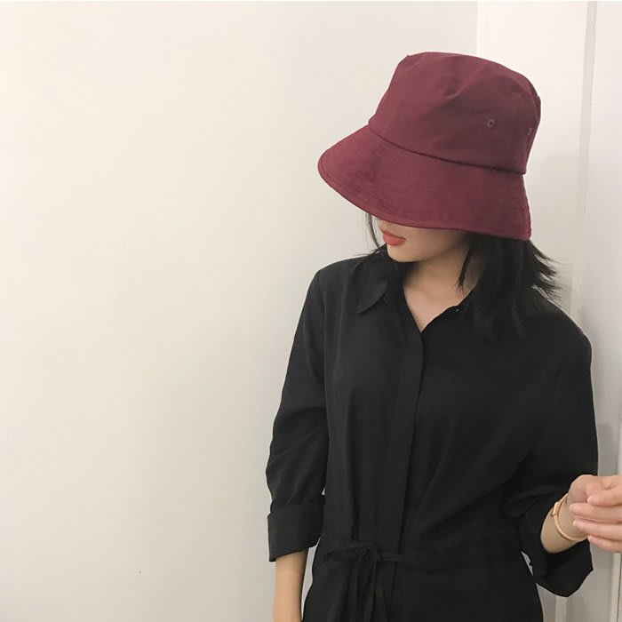 純色漁夫帽潮男女百搭遮陽帽原宿風可摺疊盆帽