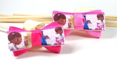 【亦云手創館】迪士尼卡通 麥芬醫生 小醫生大玩偶 雙層蝴蝶結 兒童 飾品 -A171