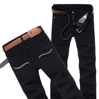 男式直筒修身牛仔褲 韓版學生顯瘦黑色牛仔長褲子潮 Y508