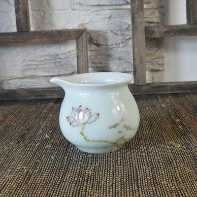 百寶軒 景德鎮瓷器全手工手繪青釉粉彩荷花紋公道杯140ML功夫茶具 ZK1557