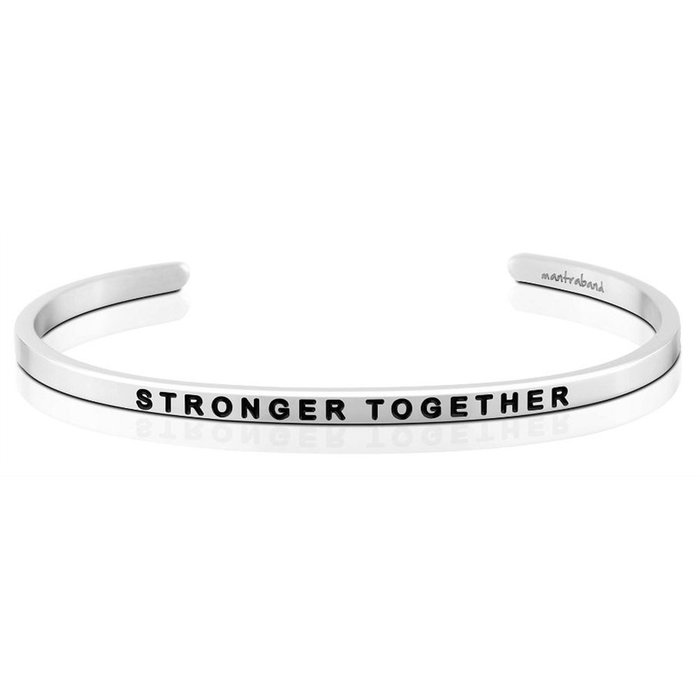 MANTRABAND 台北ShopSmart 美國悄悄話手環 銀色 Stronger Together 在一起會更強大