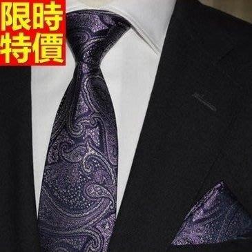 領帶 桑蠶絲男配件-奢華大氣紫色花紋商務紳士手打領帶66ae10[獨家進口][巴黎精品]