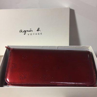 降價出售 Agnes. b 正紅色亮皮印花紋皮夾 長夾 卡夾/16卡 零錢包/拉鍊款 聖誕節情人節禮物