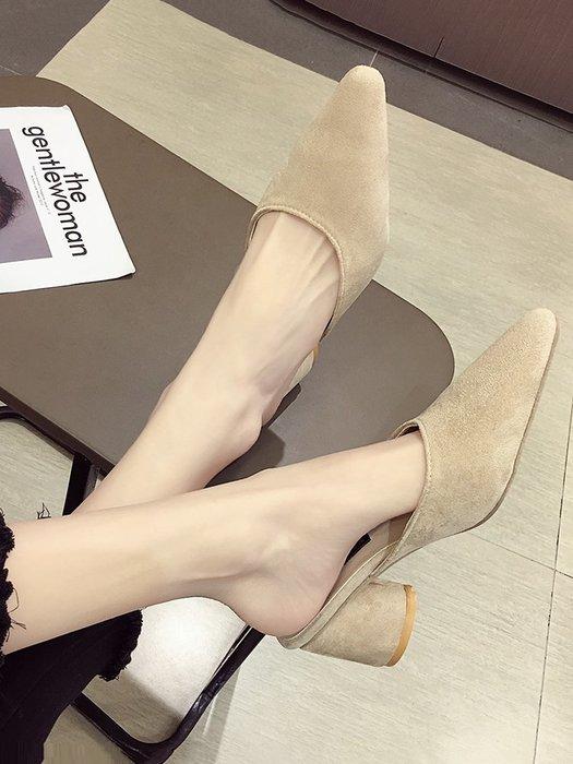 小尤家~涼拖鞋女外穿ins拖鞋夏季新款尖頭絨面高跟鞋韓版百搭穆勒鞋