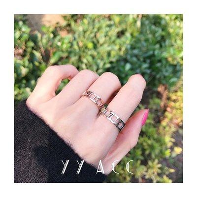 飾品日韓網紅個性鈦鋼18K玫瑰金不掉色情侶對戒男鏤空羅馬數字戒指女