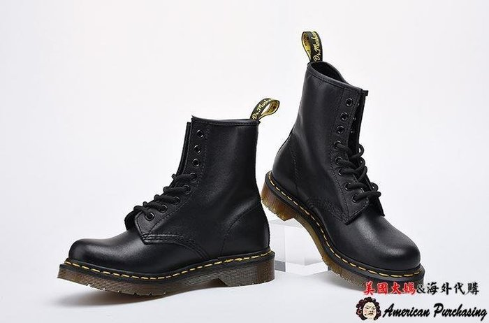 美國大媽代購 Dr.Martens 馬汀鞋 經典1460 8孔 黑色 硬皮中筒 時尚龐克 經典搖滾  歐美代購