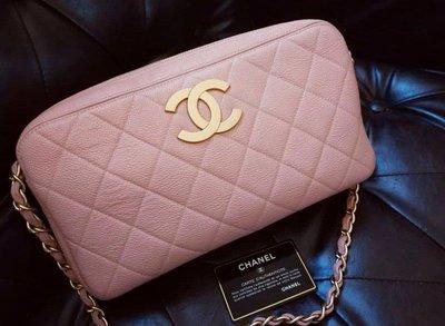 Chanel vintage 大logo粉紅魚子醬包