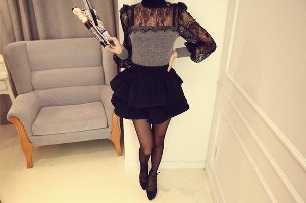 ☆Candy Box☆唯美時尚公主百搭KR百褶蓬蓬短裙純色雙層百褶 黑(L) X1721750