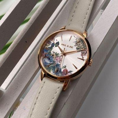 Paul & Joe女錶,編號AB00001,30mm玫瑰金圓形精鋼錶殼,彩色花紋花紋錶面,白真皮皮革錶帶款