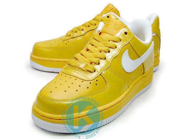 再入荷 Nike Wmns Air Force 1 黃 亮皮 海綿寶寶 女鞋 鱷魚紋路 315115-713