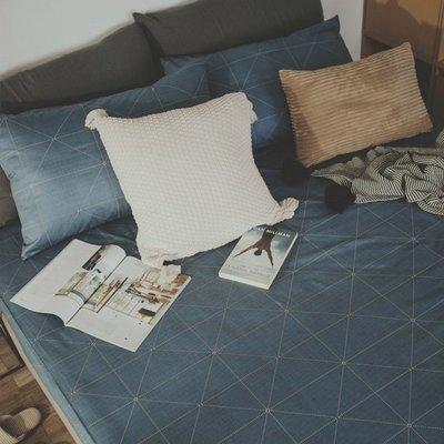 MIT精梳棉-床包枕套組/單人3.5尺【艾維斯-藍】絲薇諾