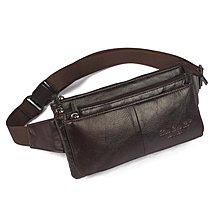 下標88折 韓版休閒時尚牛皮男包 簡約腰包 真皮手機背包 戶外斜挎胸包