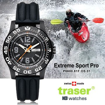 丹大戶外【Traser】Extreme Sport Pro軍錶 (黑色矽樹脂錶帶)P6600.81F.0S.01