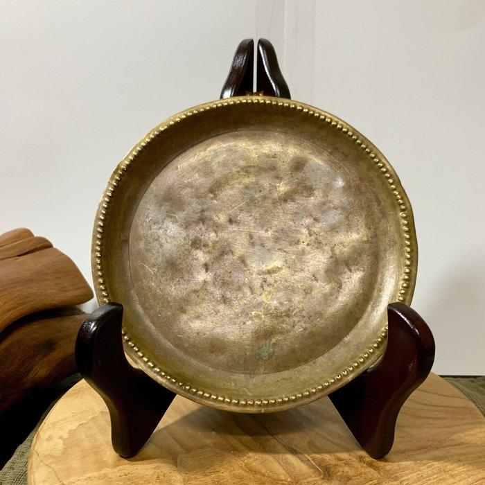 緬甸古董老件 手工老銅盤 銅器 厚實圓盤