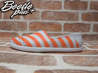 BEETLE 現貨 NATIVE VERONA SHELL WHITE 橘 白 條紋 水手鞋 GLM18-105