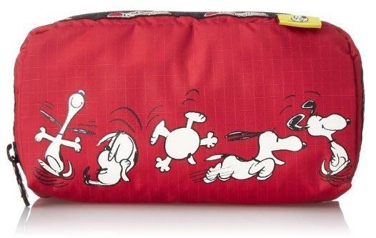現貨 美國 Lesportsac Snoopy Dance 聯名限量款 紅色跳舞史努比 化妝包 手拿包