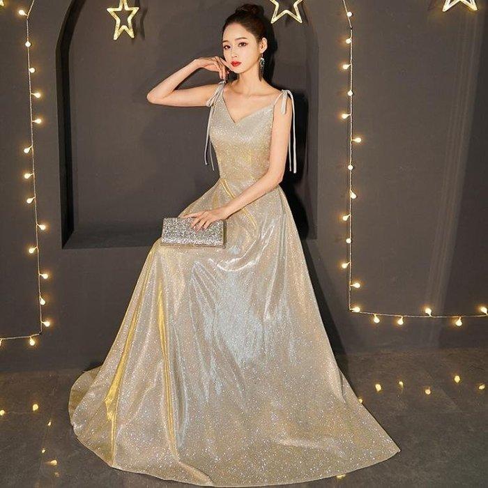 宴會晚禮服女2019新款高貴性感吊帶氣場女王主持人長款年會星空裙Y-優思思