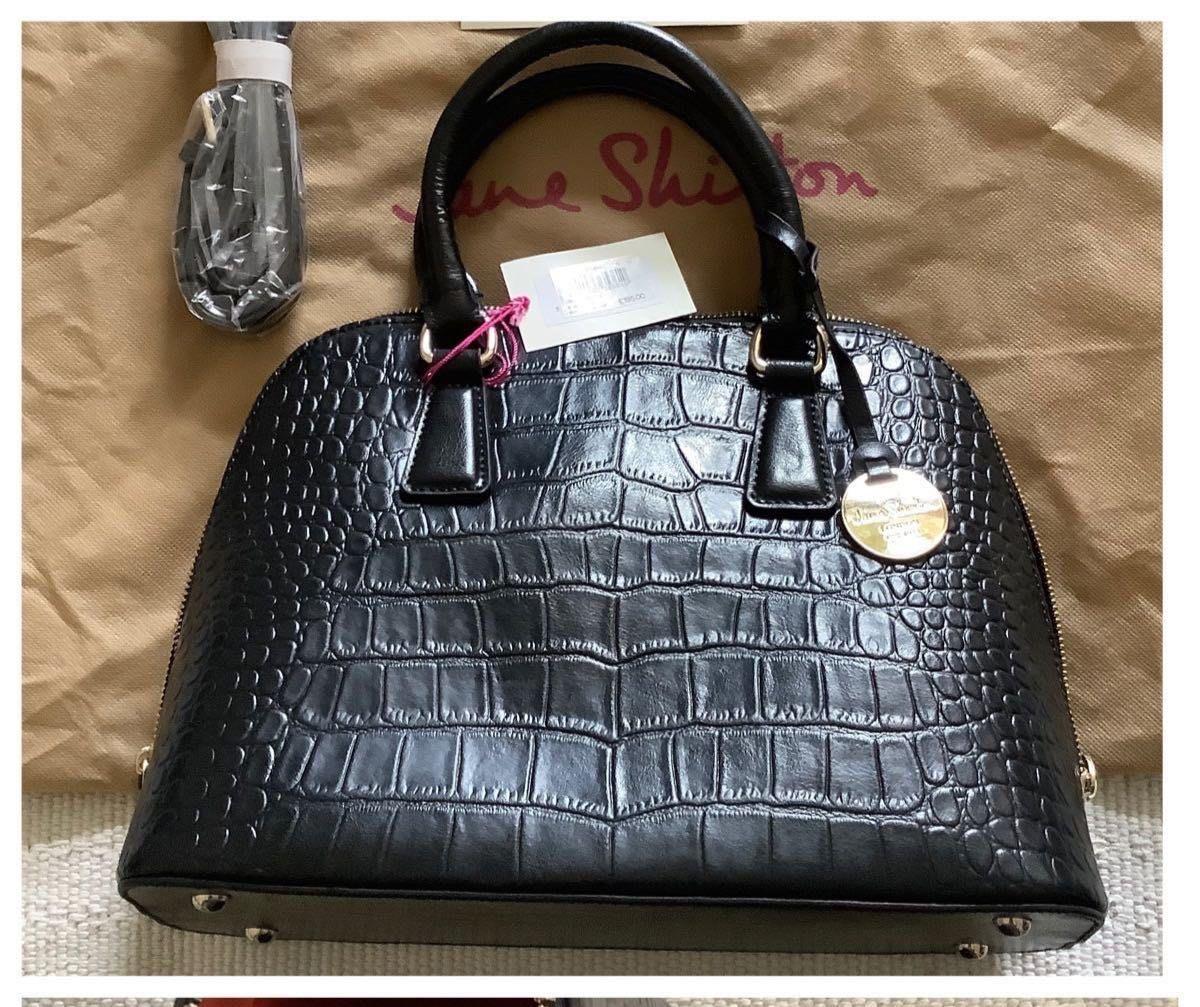 英國Jane Shilton London黑色純牛皮包。手提/斜背。復古押鱷魚紋 附皮製側背帶。歐洲購入絕不撞包。