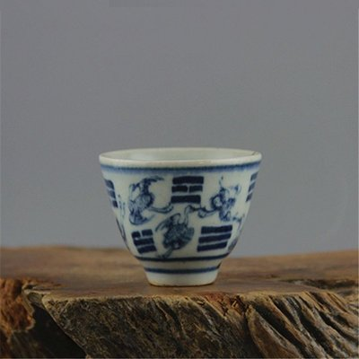 姥姥的寶藏㊣ 清代古瓷器青花八卦杯 功夫茶杯